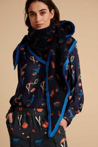 donker blauwe sjaal met luipaard patroon leopard moody sp6629