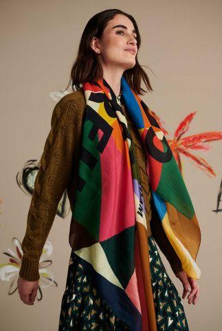 kleurrijke satijn look sjaal met tekst dare to be colourful sp6640