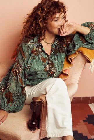 groene blouse met jungle print jungle eucalyptus sp6662