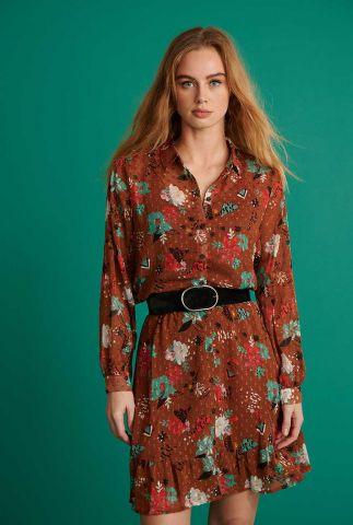 bruine semi transparante blouse met print flower bouquet sp6672