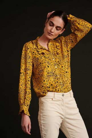 gele viscose blouse met bloemen & ruches city charms sp6679