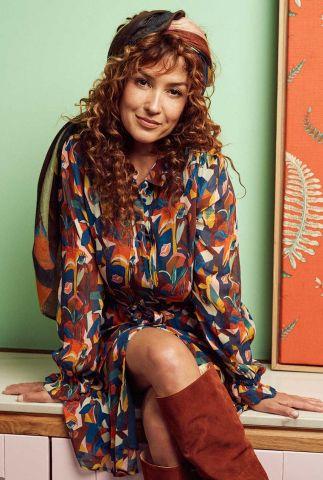 halflange doorknoop jurk met grafische print  sara artist palette sp6686