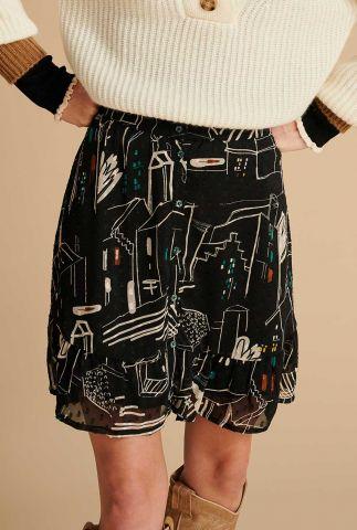 korte zwarte rok met Amsterdamse print city night sp6695