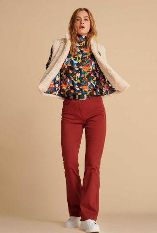 donker rode  flared jeans broek kate sp6702