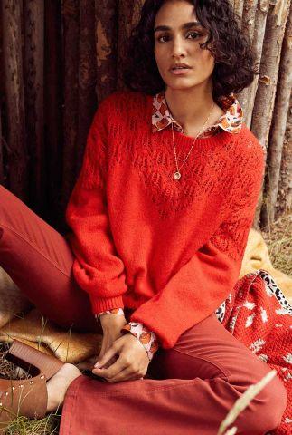 rode trui met ajour details pullover sp6709