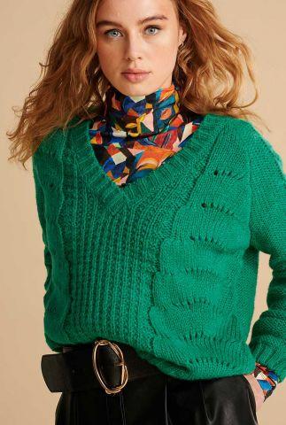 groene trui met ingebreide kabel dessins sp6711