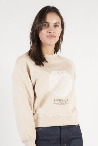 dunne beige sweater met witte flock opdruk space sweater