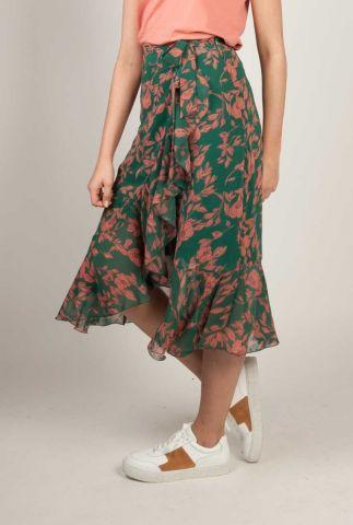 groene midi overslag rok met bloemen dessin spencer