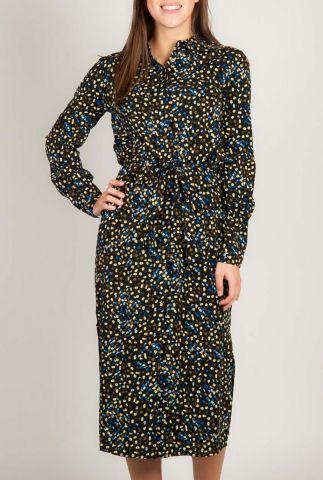 zwarte jurk met fijne bloemen print flora ls long shirt sr120-704