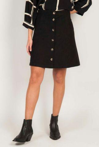korte zwarte a-lijn rok met suède look kamma skirt sr120-750
