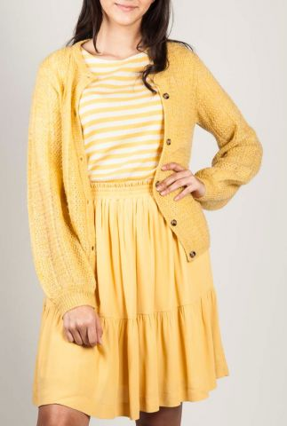 oker geel vest van wolmix met knoopsluiting elsa cardigan sr220-200