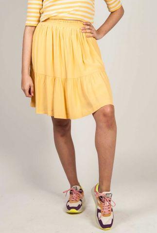 oker gele viscose mini rok met elastische tailleband move hw sr220-707
