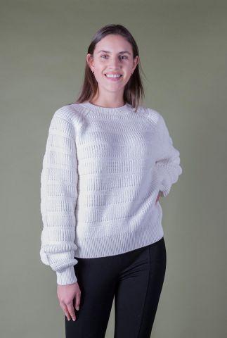 witte trui met ingebreid dessin trine o-neck SR221-208
