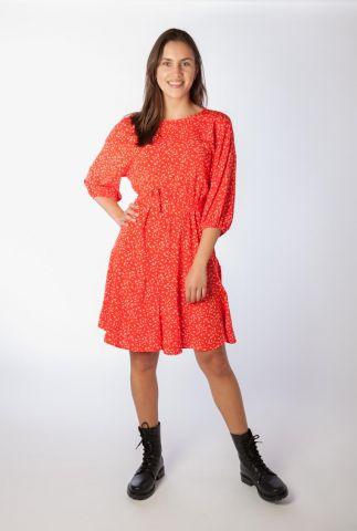 rode jurk met witte all-over print jolene dress SR321-739