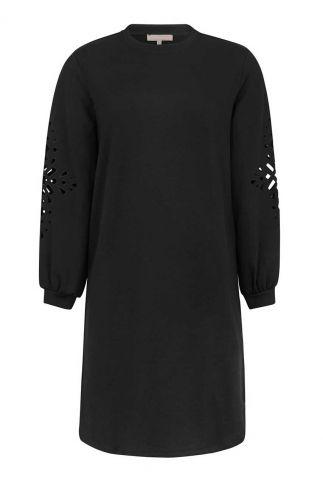zwarte jurk met opengewerkte details arabella dress SR421-305