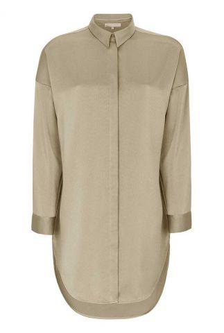 beige blouse met structuur dessin harlow long shirt SR421-725