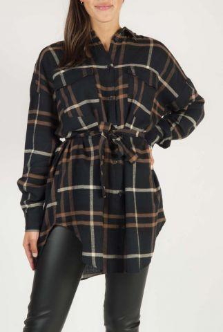zwarte blouse jurk met ruiten dessin melina ls SR520-731