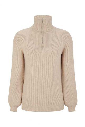 licht roze gebreide trui met ritssluiting jenny zip knit SR521-206