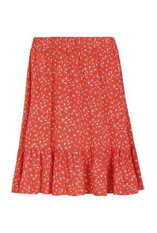 korte rode rok met witte print jolene skirt SR321-708
