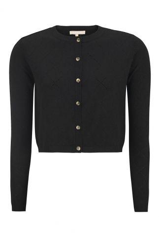 zwart kort vestje met knoopsluiting lisa cropped cardigan SR221-204