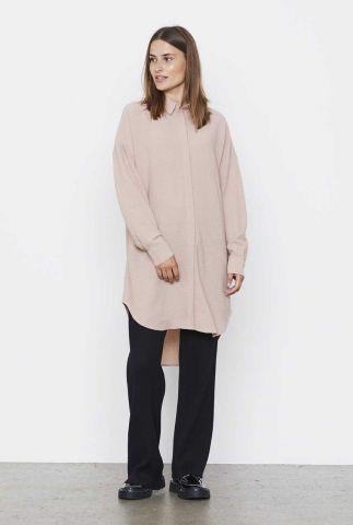 licht roze blouse van structuur stof liv long shirt SR521-743