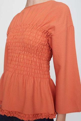 oranje top met wijde mouwen en smock detail stay blouse