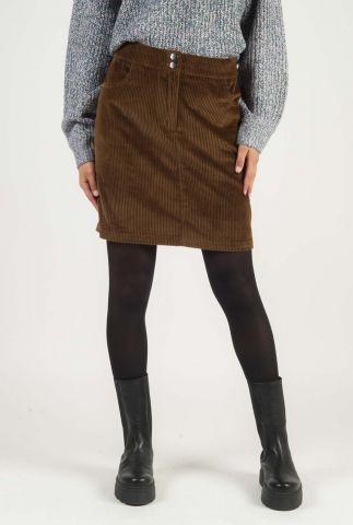 mini bruine rib rok met steekzakken stefanie skirt