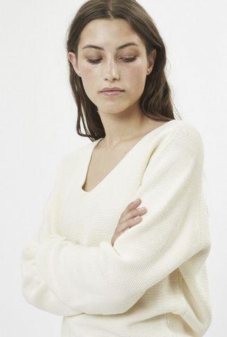 gebroken witte trui met v-hals stinea 7182