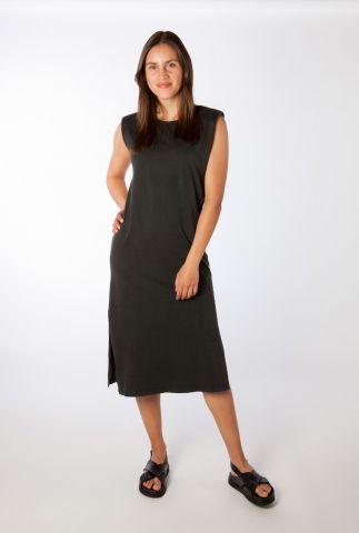 lange zwarte jurk met zijsplit stivian