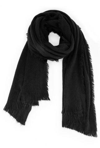 zwarte zachte sjaal met franjes stormie scarf w20.123.4211