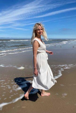 witte mouwloze wikkel jurk van wafel katoen s21t598ltd
