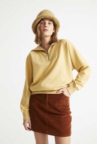 gele sweater met ritssluiting curry rebeca sweatshirt wss00097