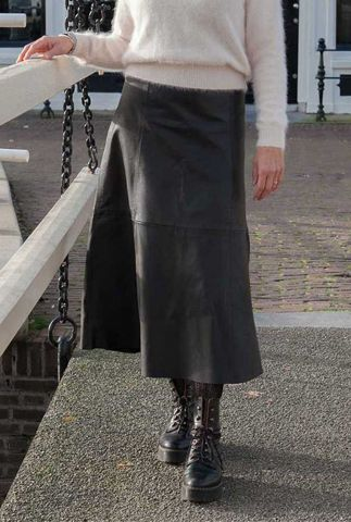 zwart leren a-lijn midi rok merrith skirt noos