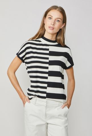 zwarte top met off-white strepen dessin 3s4438-30169