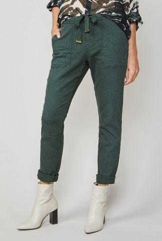 donker groene broek met panterprint 4s2005-11290