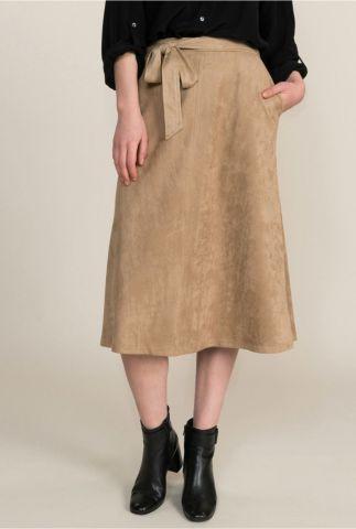 beige suède look rok met strikceintuur 6s1131-11089