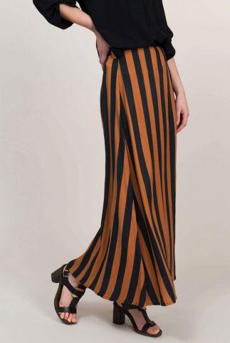 gestreepte maxi rok met oranje en zwarte strepen 6s1142-11124