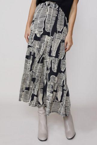 maxi rok met tunnelkoord en grafische zwart wit print 6s1144-11120