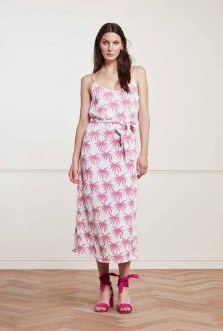 maxi jurk met roze palmbomen print sunset dress