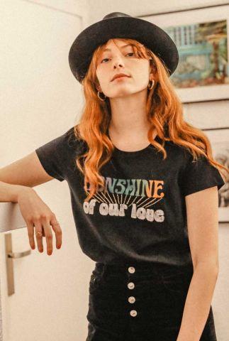 zwart t-shirt met gouden glitter borduursel sunshine