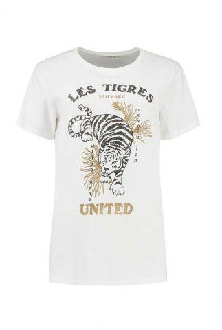 wit katoenen t-shirt met tijger opdruk suri tee w20.71.1791