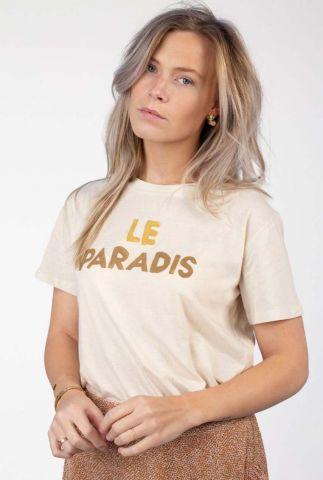crème kleurig t-shirt met opdruk le paradis suri tee s21.77.3812