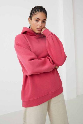 donkerroze hoodie sweater met capuchon sw alisa