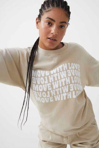 lichtbruine sweater met witte opdruk sw move with love