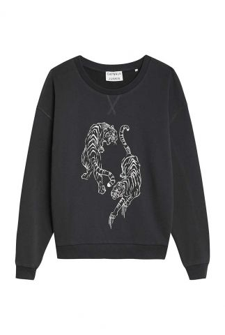 donker grijze sweater met een foil tijger opdruk sw tigre foil