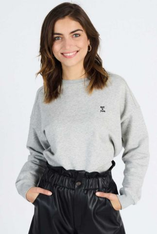 licht grijze sweater met logo sweat kiara 60049