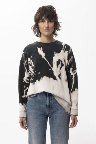 zwart tie-dye sweater met ronde hals bibbi special dye 150482