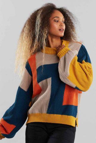 gebreide colorblock trui knitted rutbo blocks 19022