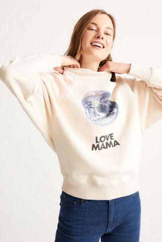 crème kleurige sweater met opdruk love mama sweatshirt wss00092