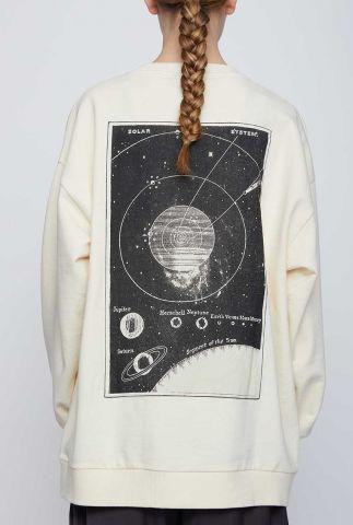 crème kleurige oversized sweater met space opdruk system sweat